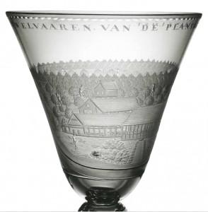 Kelkglas met ets van plantage